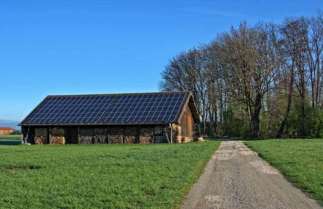 solar plant on a barn bioenergy concept